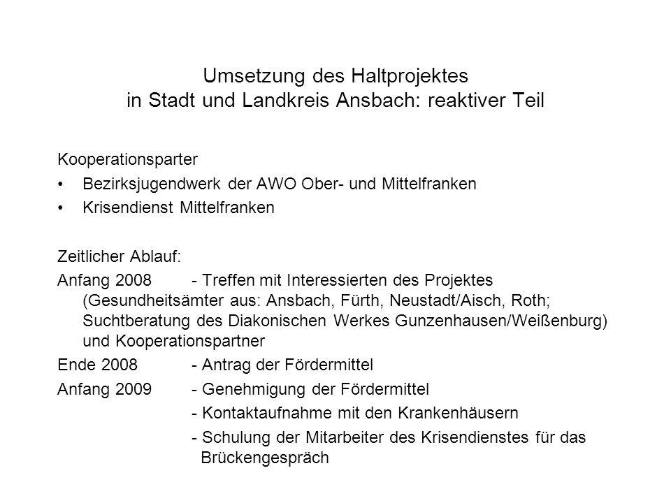 Umsetzung des Haltprojektes in Stadt und Landkreis Ansbach: reaktiver Teil Kooperationsparter Bezirksjugendwerk der AWO Ober- und Mittelfranken Krisen