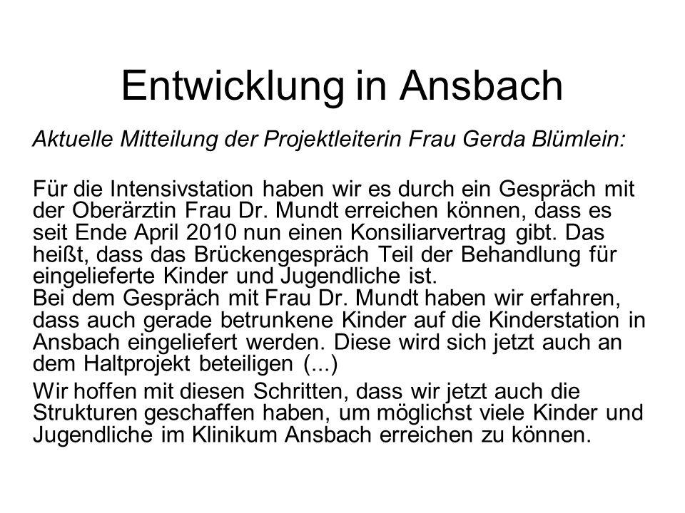 Entwicklung in Ansbach Aktuelle Mitteilung der Projektleiterin Frau Gerda Blümlein: Für die Intensivstation haben wir es durch ein Gespräch mit der Ob