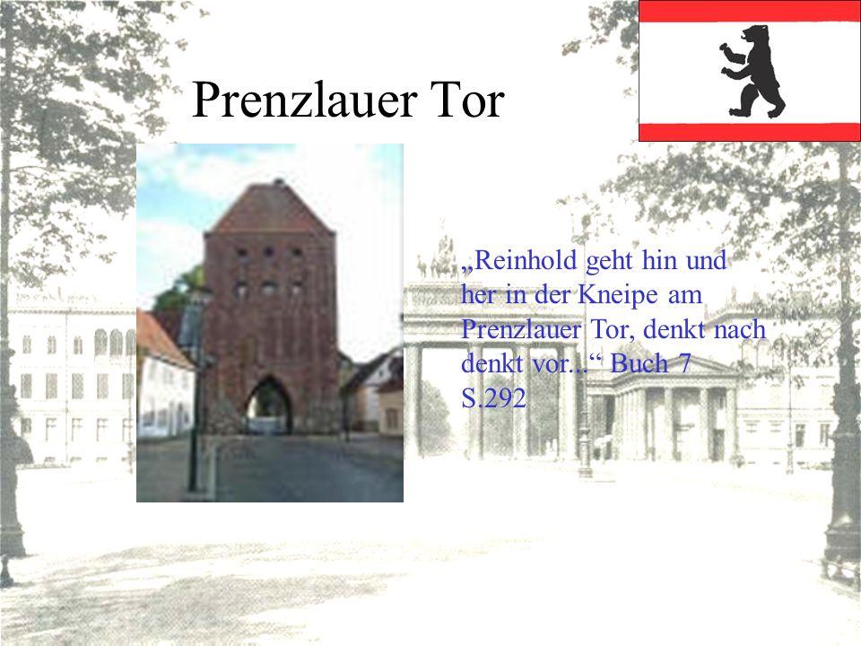 Prenzlauer Tor Reinhold geht hin und her in der Kneipe am Prenzlauer Tor, denkt nach denkt vor... Buch 7 S.292