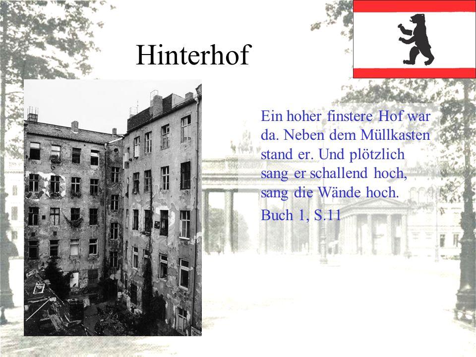 Hinterhof Ein hoher finstere Hof war da. Neben dem Müllkasten stand er. Und plötzlich sang er schallend hoch, sang die Wände hoch. Buch 1, S.11