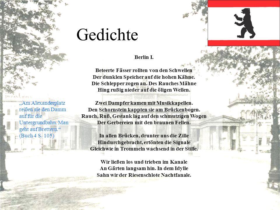 Gedichte Berlin I. Beteerte Fässer rollten von den Schwellen Der dunklen Speicher auf die hohen Kähne. Die Schlepper zogen an. Des Rauches Mähne Hing