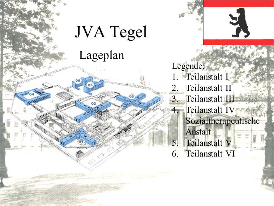 JVA Tegel Lageplan Legende: 1.Teilanstalt I 2.Teilanstalt II 3.Teilanstalt III 4.Teilanstalt IV Sozialtherapeutische Anstalt 5.Teilanstalt V 6.Teilans