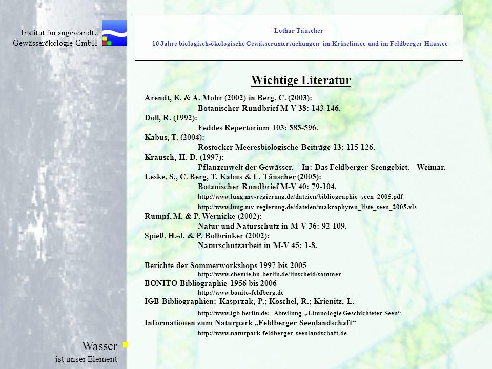 Institut für angewandte Gewässerökologie GmbH Wasser ist unser Element Wichtige Literatur Arendt, K. & A. Mohr (2002) in Berg, C. (2003): Botanischer