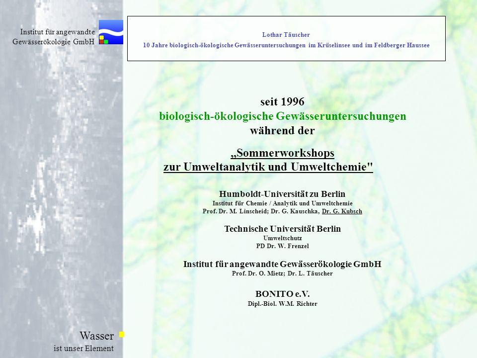Institut für angewandte Gewässerökologie GmbH Wasser ist unser Element Lothar Täuscher 10 Jahre biologisch-ökologische Gewässeruntersuchungen im Krüse