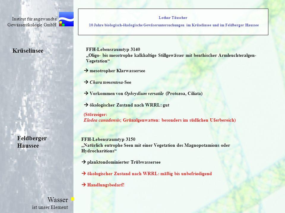 Institut für angewandte Gewässerökologie GmbH Wasser ist unser Element Krüselinsee FFH-Lebensraumtyp 3140 Oligo- bis mesotrophe kalkhaltige Stillgewäs