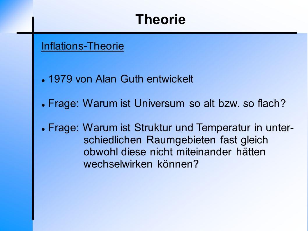 Theorie Inflations-Theorie 1979 von Alan Guth entwickelt Frage: Warum ist Universum so alt bzw. so flach? Frage: Warum ist Struktur und Temperatur in