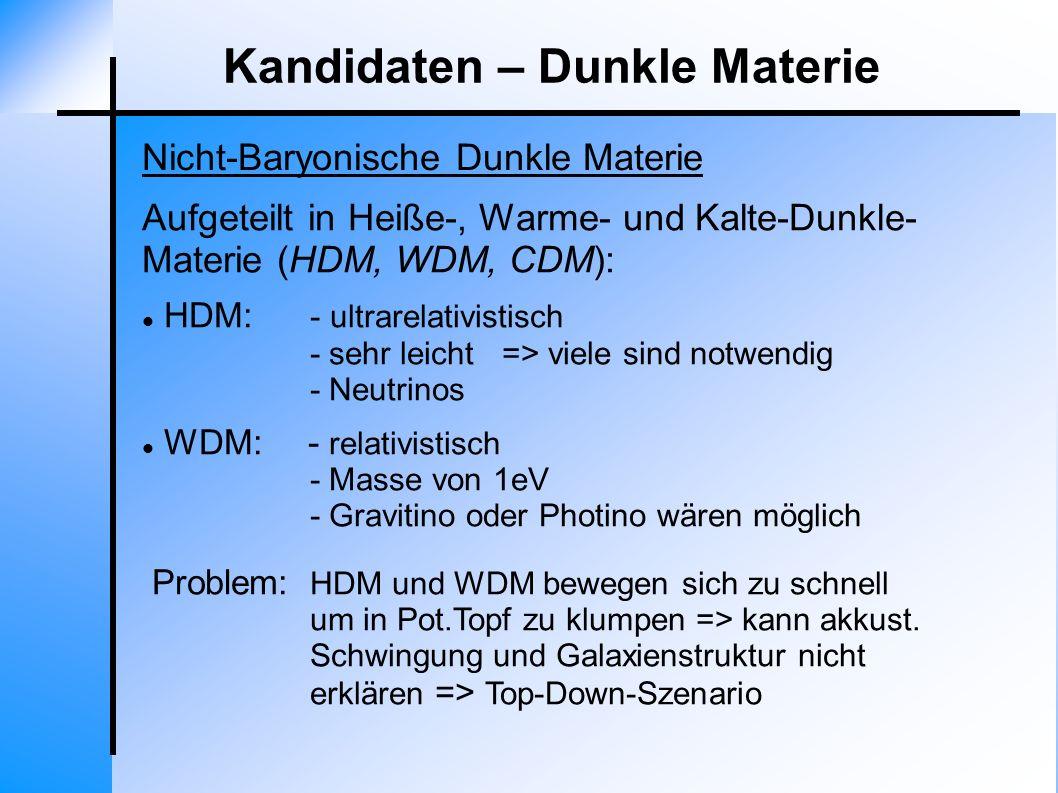 Nicht-Baryonische Dunkle Materie Kandidaten – Dunkle Materie Aufgeteilt in Heiße-, Warme- und Kalte-Dunkle- Materie (HDM, WDM, CDM): HDM: - ultrarelat