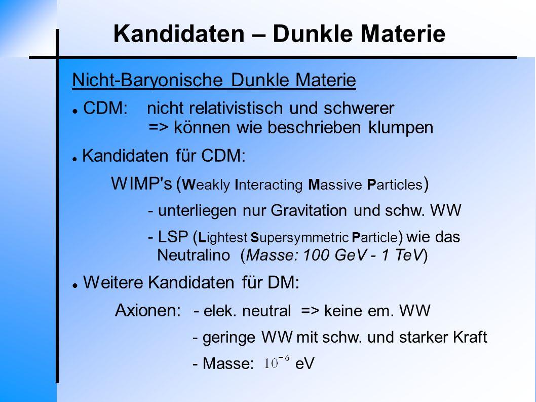 Nicht-Baryonische Dunkle Materie Kandidaten – Dunkle Materie CDM: nicht relativistisch und schwerer => können wie beschrieben klumpen Kandidaten für C