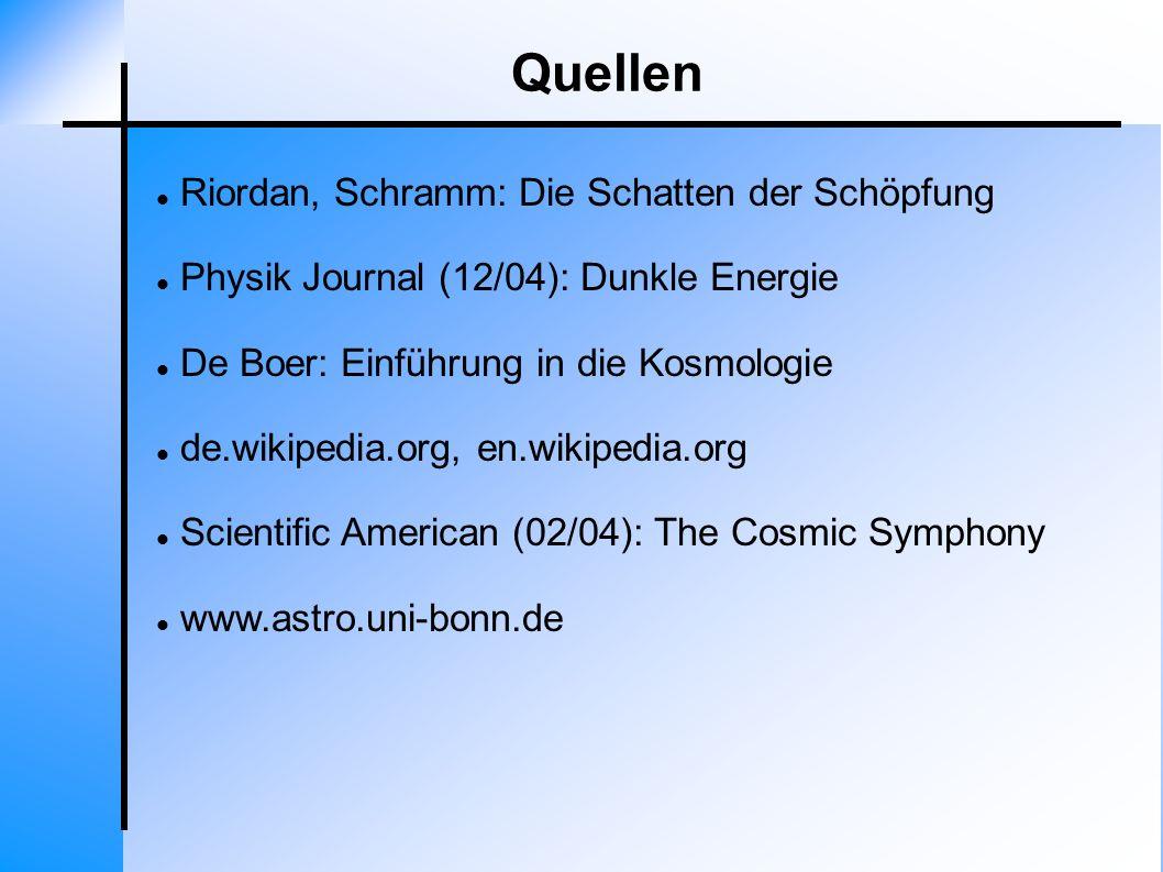 Quellen Riordan, Schramm: Die Schatten der Schöpfung Physik Journal (12/04): Dunkle Energie De Boer: Einführung in die Kosmologie de.wikipedia.org, en
