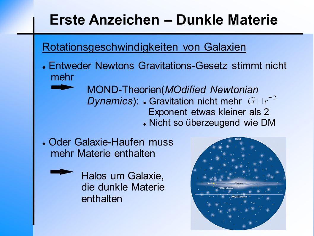 Oder Galaxie-Haufen muss mehr Materie enthalten Entweder Newtons Gravitations-Gesetz stimmt nicht mehr Halos um Galaxie, die dunkle Materie enthalten
