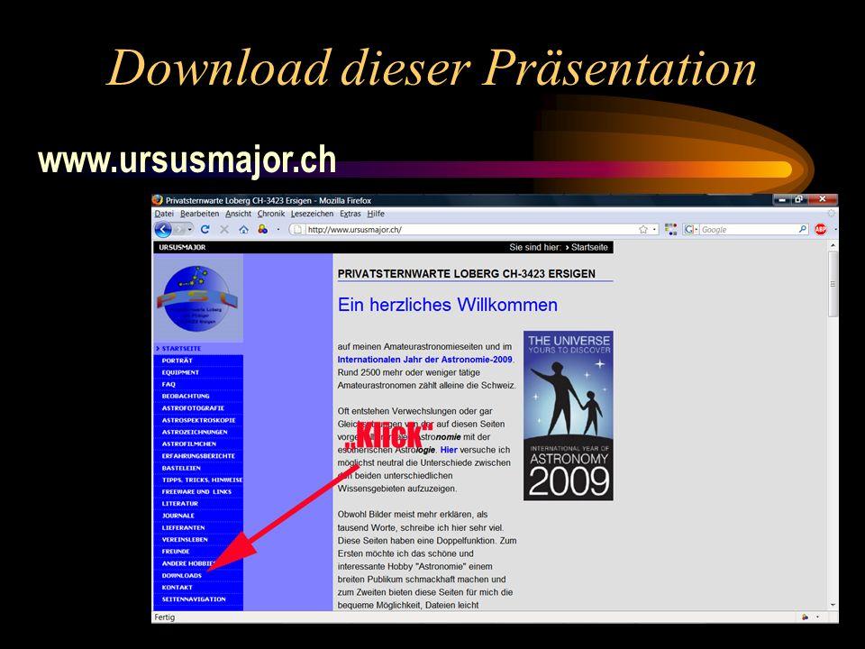 Download dieser Präsentation www.ursusmajor.ch