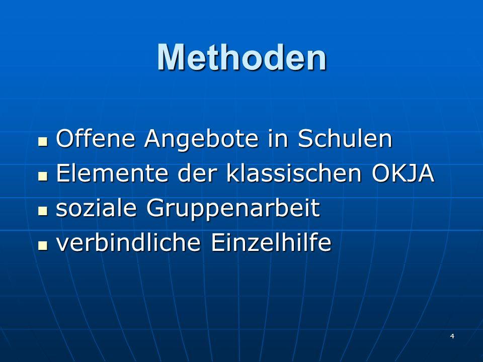 4 Methoden Offene Angebote in Schulen Offene Angebote in Schulen Elemente der klassischen OKJA Elemente der klassischen OKJA soziale Gruppenarbeit soz