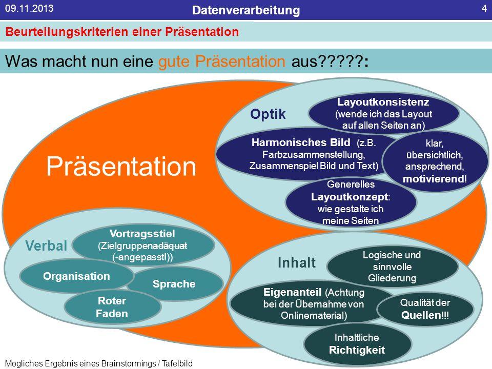 Datenverarbeitung 09.11.20134 Beurteilungskriterien einer Präsentation Was macht nun eine gute Präsentation aus?????: Harmonisches Bild (z.B. Farbzusa