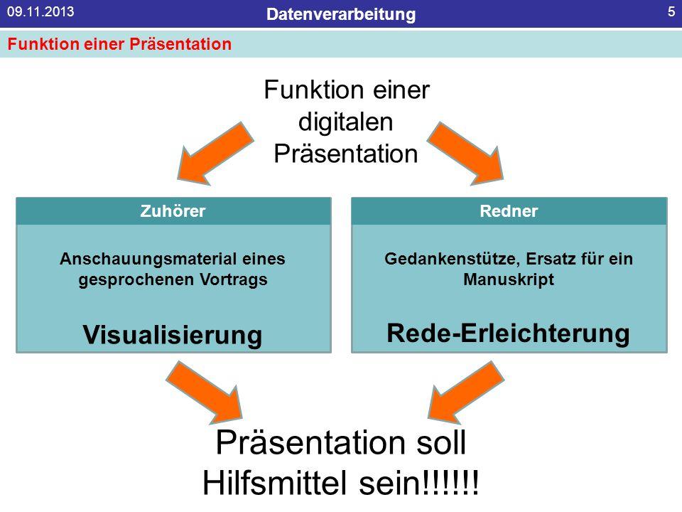 Datenverarbeitung 09.11.20135 Funktion einer digitalen Präsentation ZuhörerRedner Anschauungsmaterial eines gesprochenen Vortrags Gedankenstütze, Ersa
