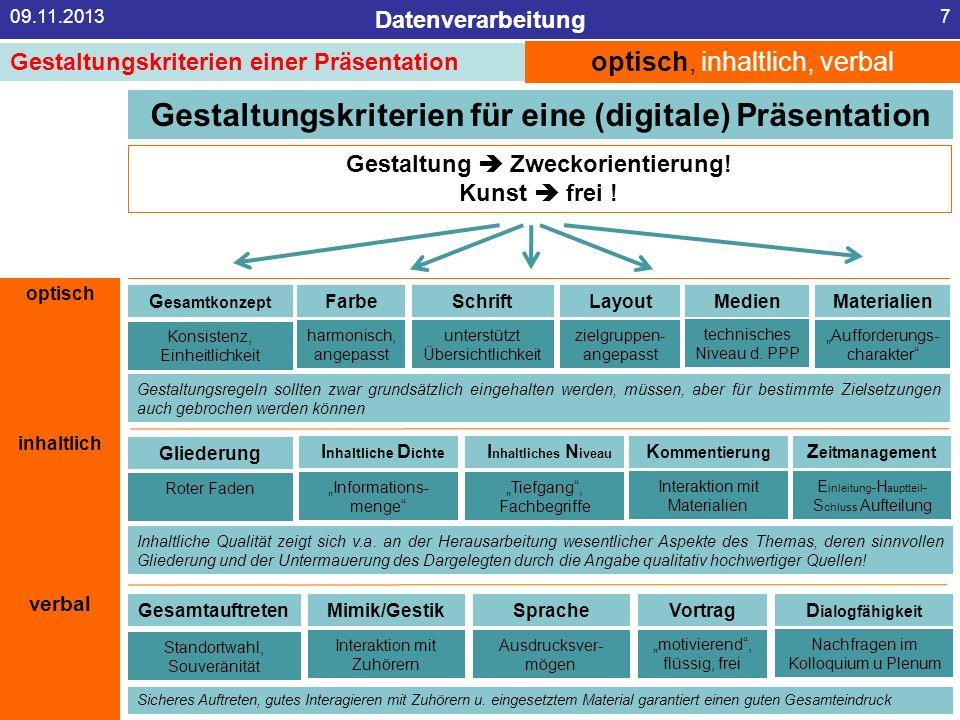 Datenverarbeitung 09.11.20137 Gestaltungskriterien für eine (digitale) Präsentation Gestaltung Zweckorientierung! Kunst frei ! optisch, inhaltlich, ve