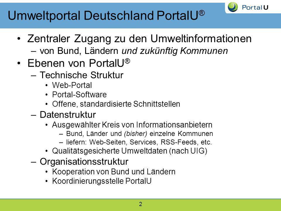 2 Umweltportal Deutschland PortalU ® Zentraler Zugang zu den Umweltinformationen –von Bund, Ländern und zukünftig Kommunen Ebenen von PortalU ® –Techn