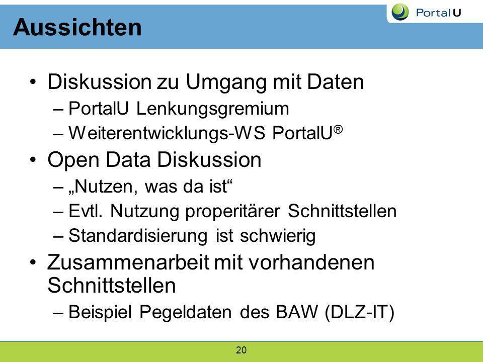20 Aussichten Diskussion zu Umgang mit Daten –PortalU Lenkungsgremium –Weiterentwicklungs-WS PortalU ® Open Data Diskussion –Nutzen, was da ist –Evtl.