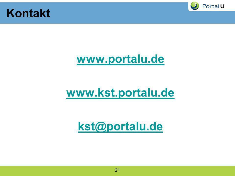 21 www.portalu.de www.kst.portalu.de kst@portalu.de Kontakt
