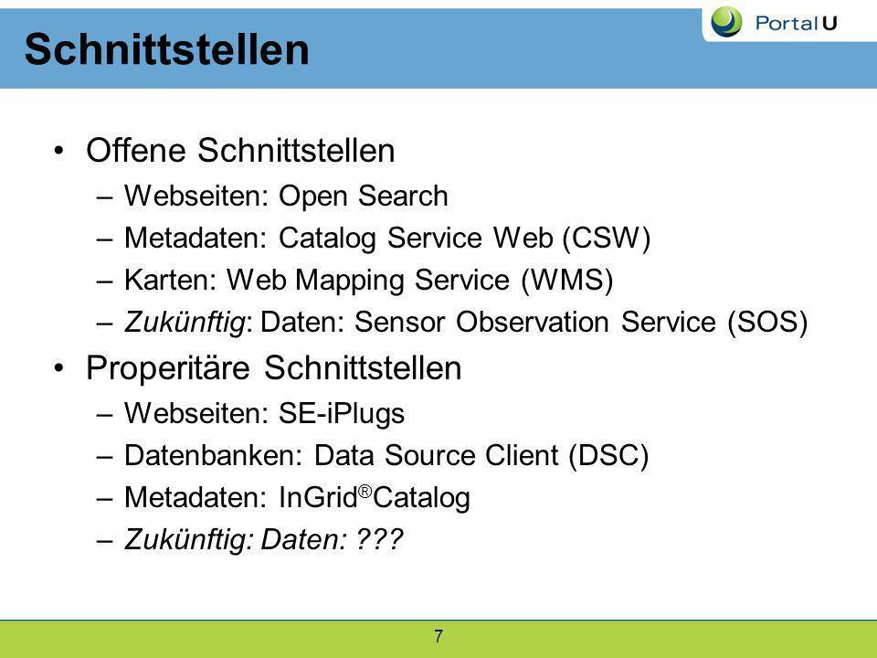 7 Schnittstellen Offene Schnittstellen –Webseiten: Open Search –Metadaten: Catalog Service Web (CSW) –Karten: Web Mapping Service (WMS) –Zukünftig: Da