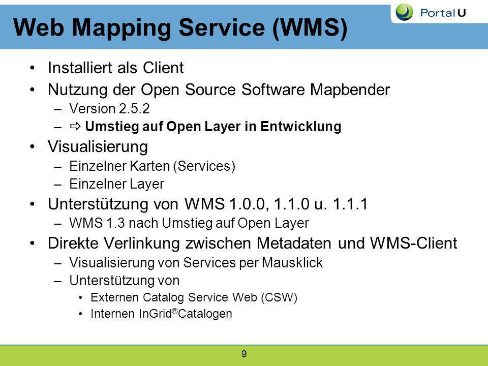 9 Web Mapping Service (WMS) Installiert als Client Nutzung der Open Source Software Mapbender –Version 2.5.2 – Umstieg auf Open Layer in Entwicklung V