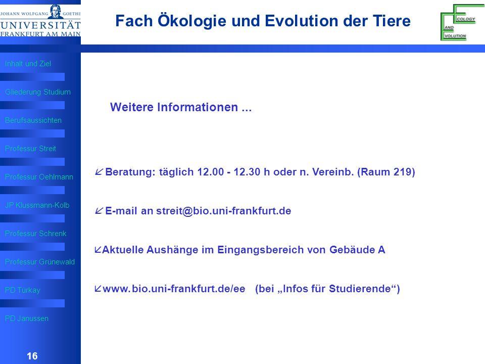 16 Fach Ökologie und Evolution der Tiere Inhalt und Ziel Gliederung Studium Berufsaussichten Professur Streit Professur Oehlmann 16 JP Klussmann-Kolb