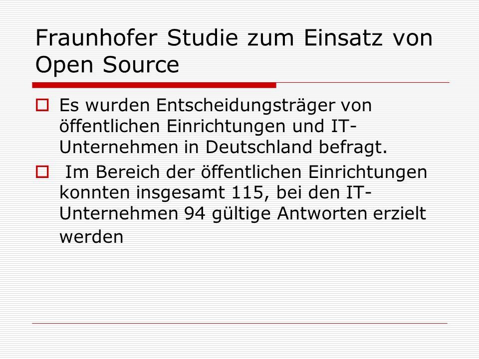 Fraunhofer Studie zum Einsatz von Open Source Es wurden Entscheidungsträger von öffentlichen Einrichtungen und IT- Unternehmen in Deutschland befragt.