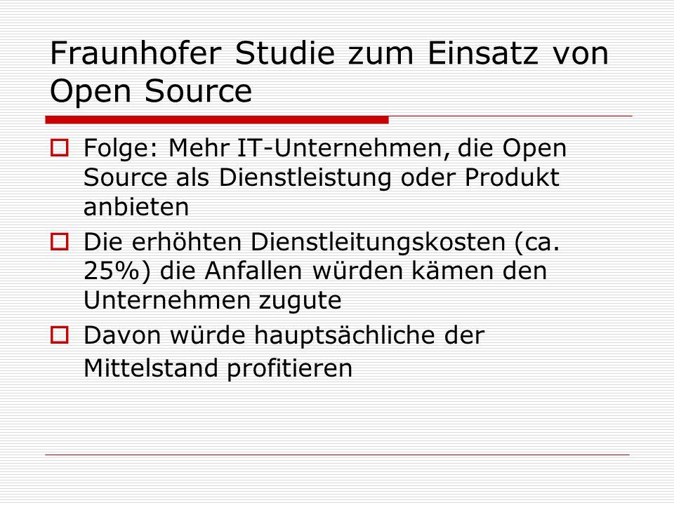 Fraunhofer Studie zum Einsatz von Open Source Folge: Mehr IT-Unternehmen, die Open Source als Dienstleistung oder Produkt anbieten Die erhöhten Dienst