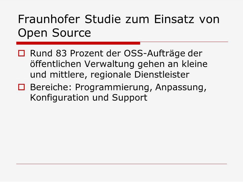 Fraunhofer Studie zum Einsatz von Open Source Rund 83 Prozent der OSS-Aufträge der öffentlichen Verwaltung gehen an kleine und mittlere, regionale Dienstleister Bereiche: Programmierung, Anpassung, Konfiguration und Support