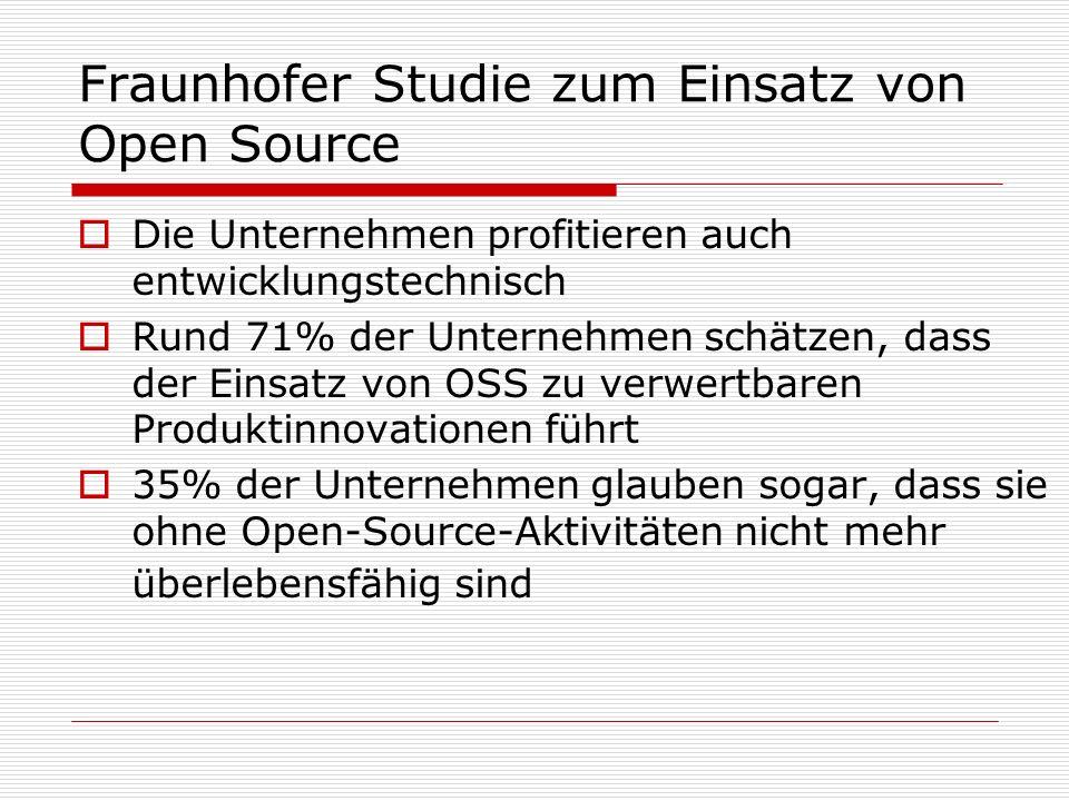 Fraunhofer Studie zum Einsatz von Open Source Die Unternehmen profitieren auch entwicklungstechnisch Rund 71% der Unternehmen schätzen, dass der Einsa