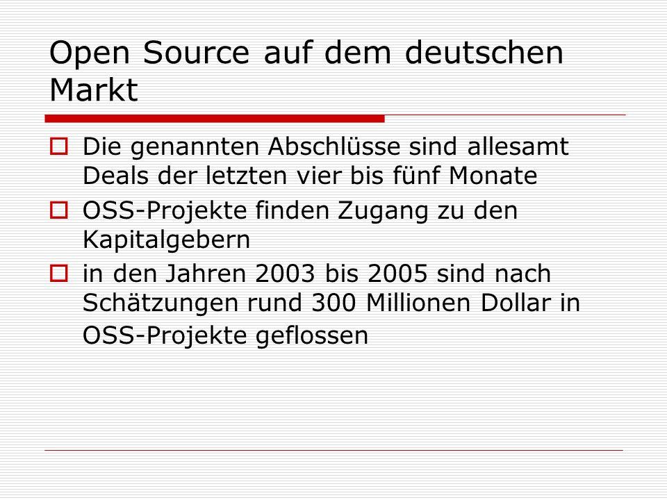 Open Source auf dem deutschen Markt Die genannten Abschlüsse sind allesamt Deals der letzten vier bis fünf Monate OSS-Projekte finden Zugang zu den Kapitalgebern in den Jahren 2003 bis 2005 sind nach Schätzungen rund 300 Millionen Dollar in OSS-Projekte geflossen