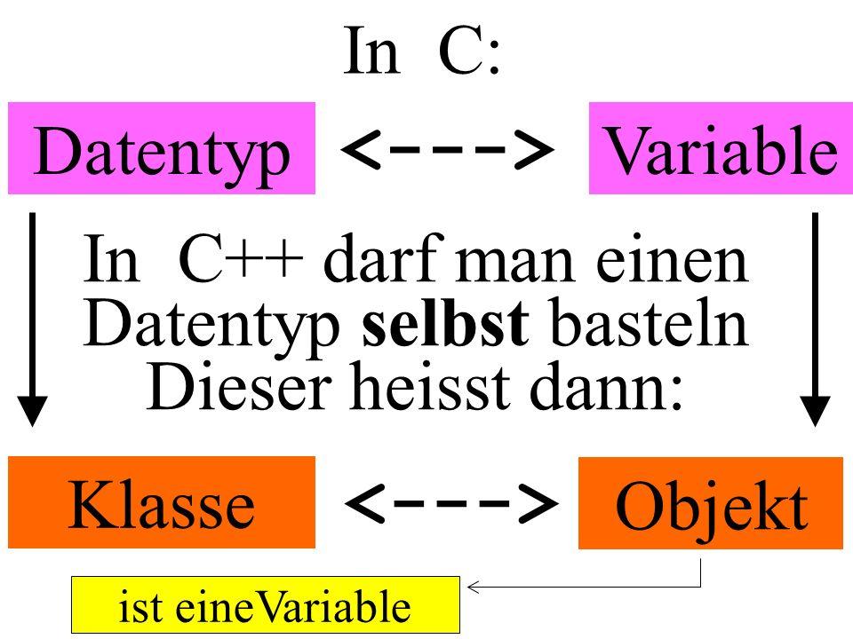 In C: DatentypVariable Klasse Objekt ist eineVariable In C++ darf man einen Datentyp selbst basteln Dieser heisst dann: