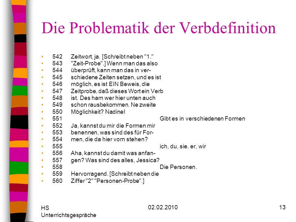 HS Unterrichtsgespräche 02.02.201013 Die Problematik der Verbdefinition 542Zeitwort, ja. [Schreibt neben