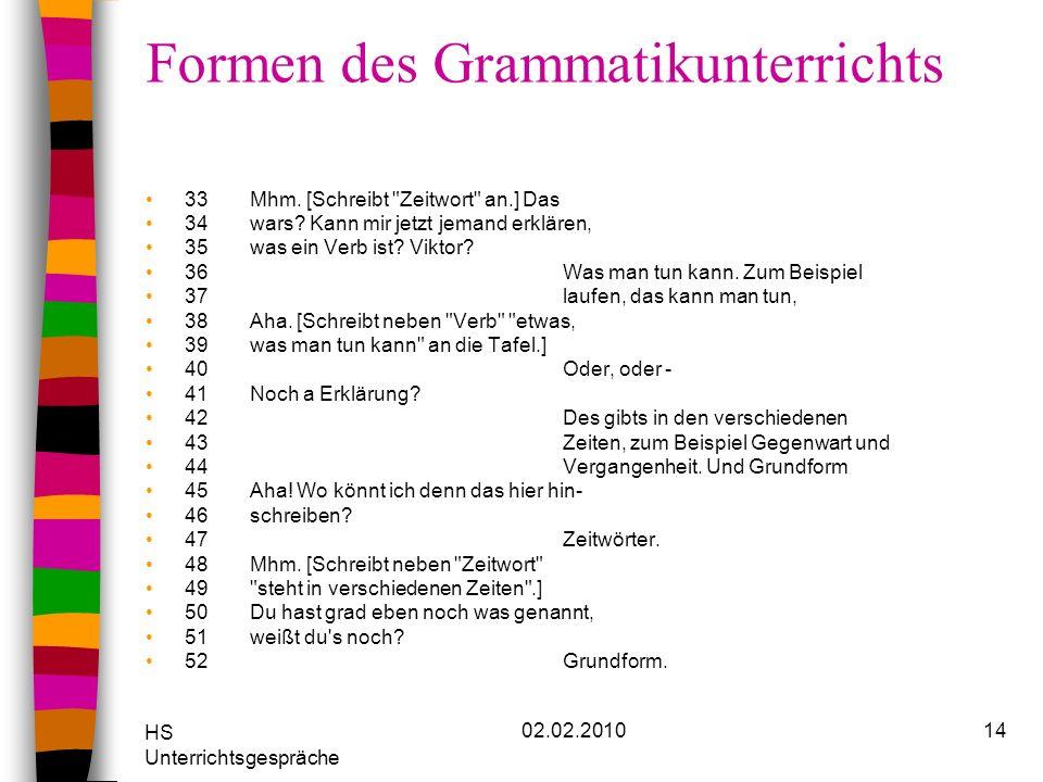 HS Unterrichtsgespräche 02.02.201014 Formen des Grammatikunterrichts 33Mhm. [Schreibt