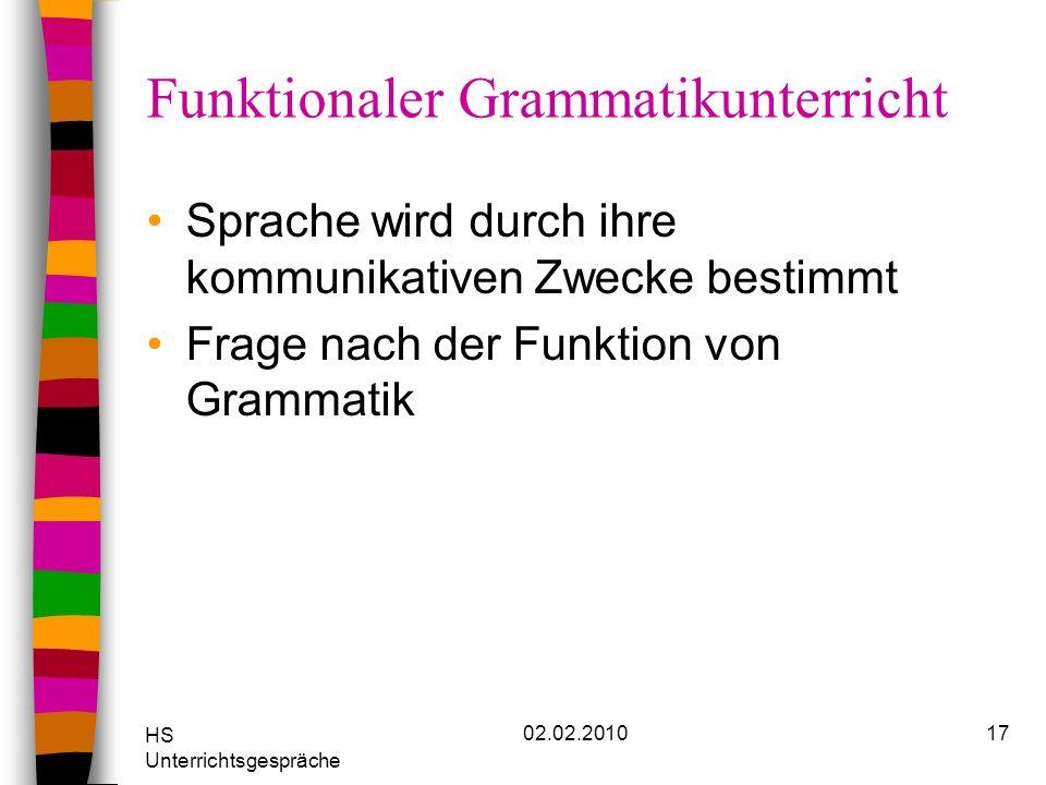 HS Unterrichtsgespräche 02.02.201017 Funktionaler Grammatikunterricht Sprache wird durch ihre kommunikativen Zwecke bestimmt Frage nach der Funktion v