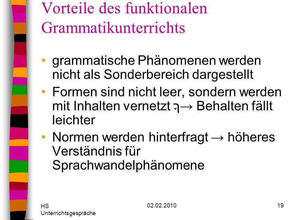 HS Unterrichtsgespräche 02.02.201019 Vorteile des funktionalen Grammatikunterrichts grammatische Phänomenen werden nicht als Sonderbereich dargestellt