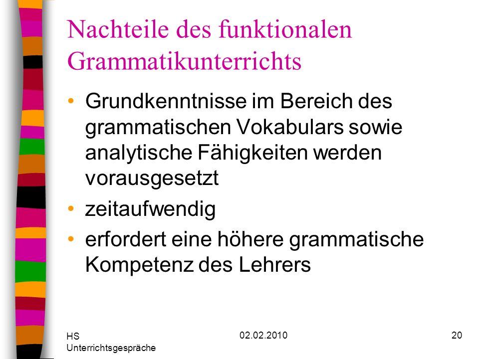 HS Unterrichtsgespräche 02.02.201020 Nachteile des funktionalen Grammatikunterrichts Grundkenntnisse im Bereich des grammatischen Vokabulars sowie ana