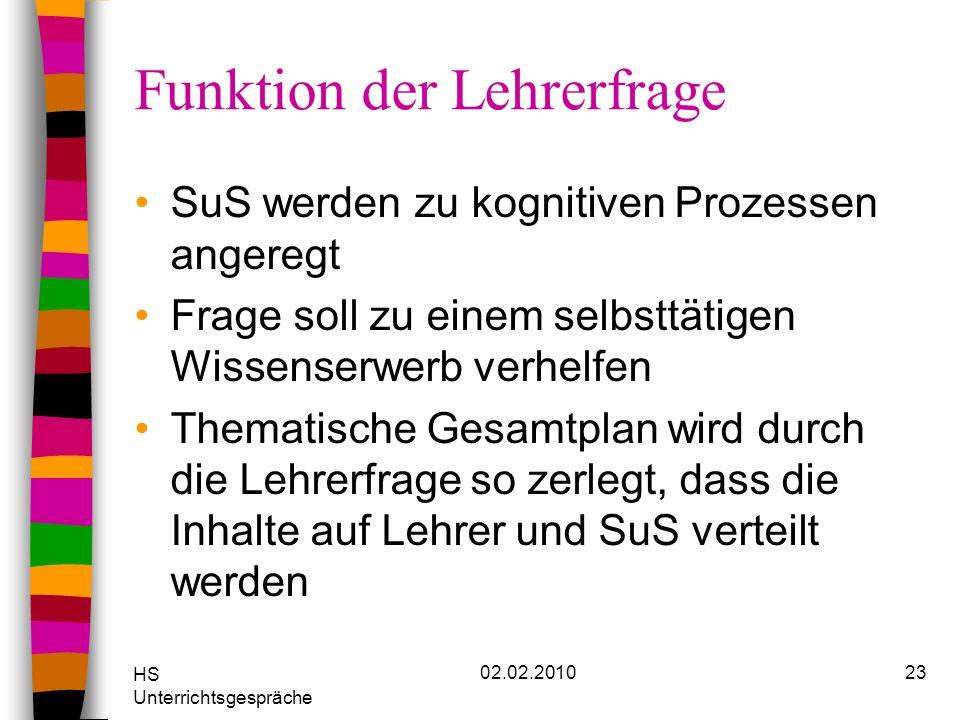 HS Unterrichtsgespräche 02.02.201023 Funktion der Lehrerfrage SuS werden zu kognitiven Prozessen angeregt Frage soll zu einem selbsttätigen Wissenserw