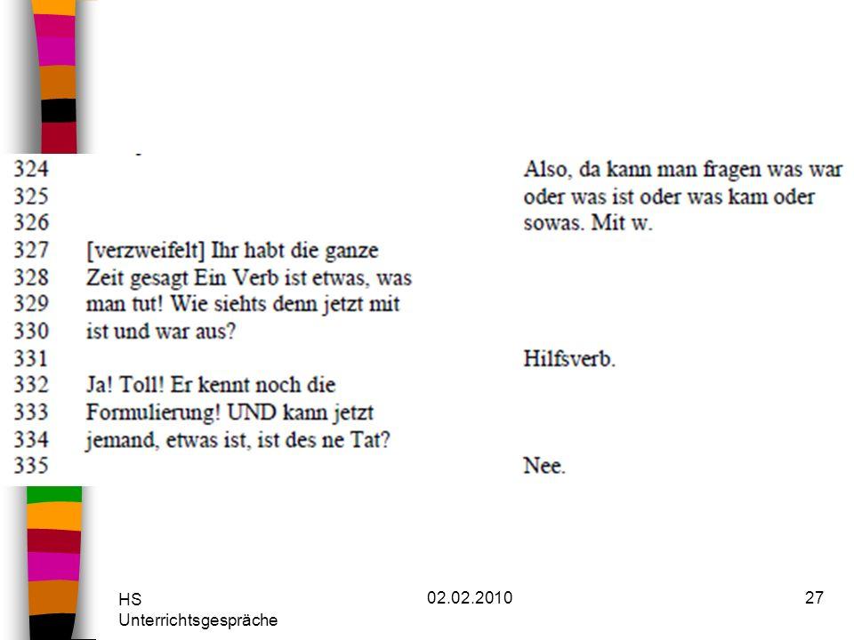 HS Unterrichtsgespräche 02.02.201027