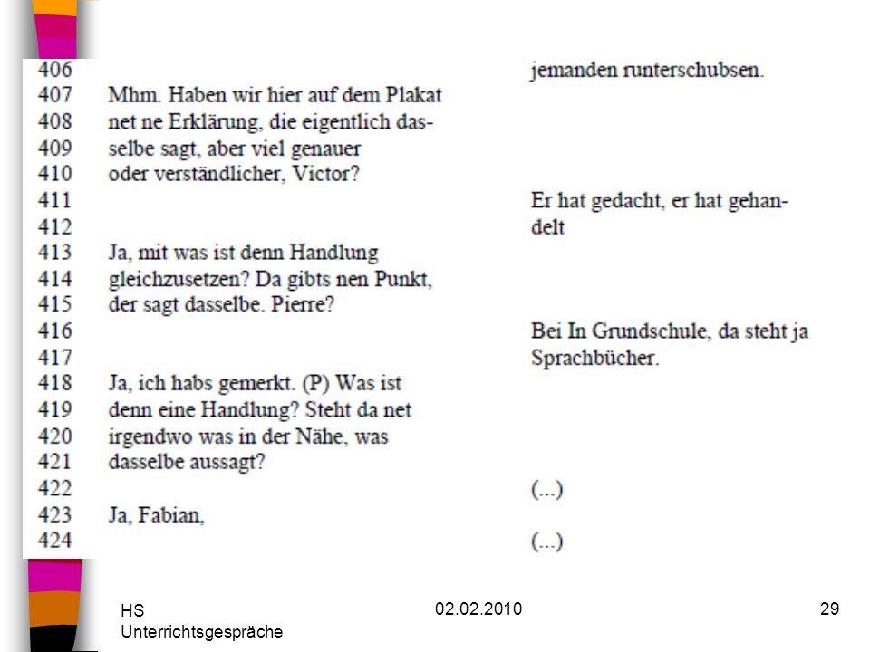 HS Unterrichtsgespräche 02.02.201029