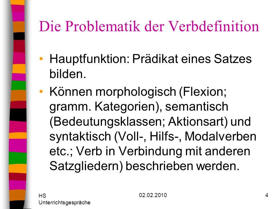 HS Unterrichtsgespräche 02.02.20104 Die Problematik der Verbdefinition Hauptfunktion: Prädikat eines Satzes bilden. Können morphologisch (Flexion; gra