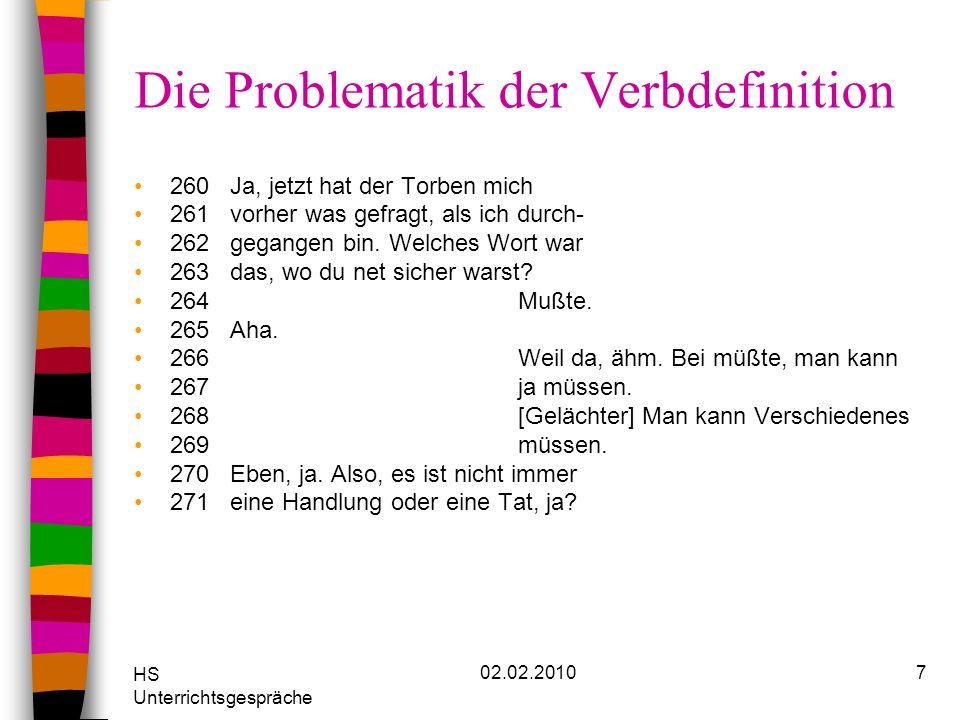 HS Unterrichtsgespräche 02.02.20107 Die Problematik der Verbdefinition 260Ja, jetzt hat der Torben mich 261vorher was gefragt, als ich durch- 262gegan