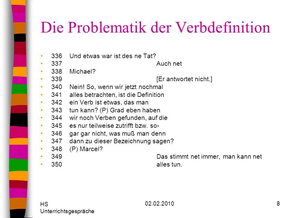 HS Unterrichtsgespräche 02.02.20109 Die Problematik der Verbdefinition 355Tunwort, äh Verb ist immer ein Zeitwort 356Kannst des mal erklären.