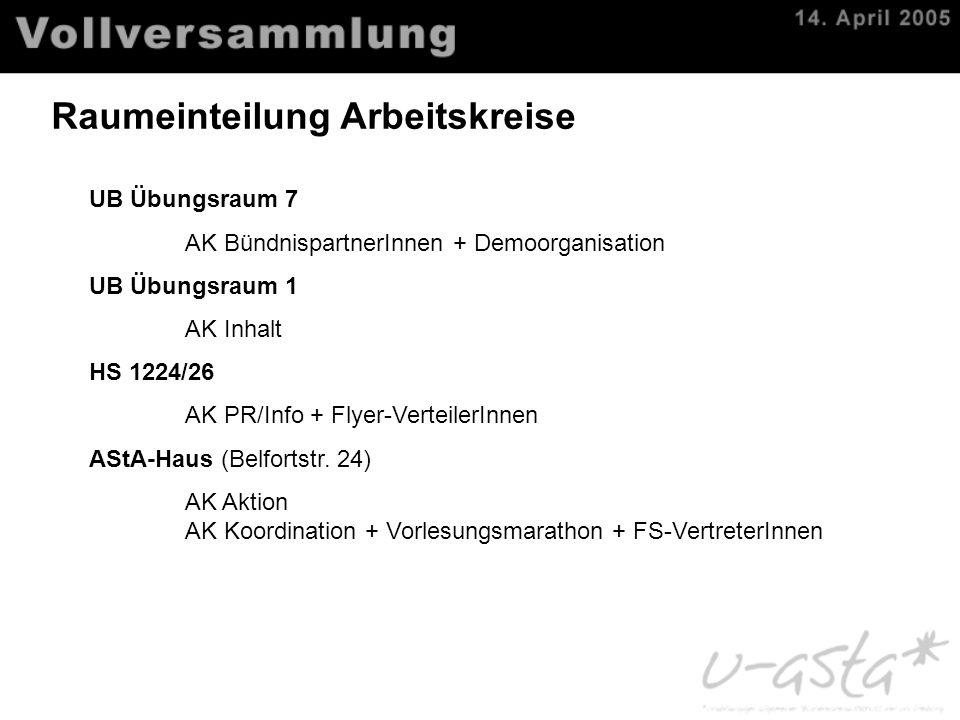 Raumeinteilung Arbeitskreise UB Übungsraum 7 AK BündnispartnerInnen + Demoorganisation UB Übungsraum 1 AK Inhalt HS 1224/26 AK PR/Info + Flyer-Verteil