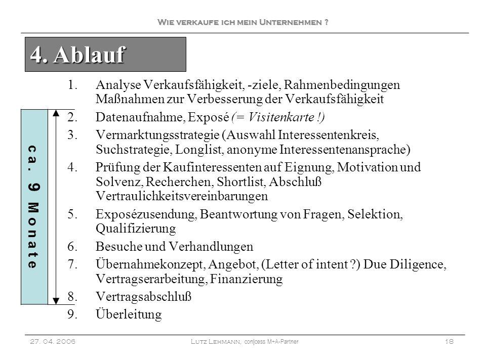 1.Analyse Verkaufsfähigkeit, -ziele, Rahmenbedingungen Maßnahmen zur Verbesserung der Verkaufsfähigkeit 2.Datenaufnahme, Exposé (= Visitenkarte !) 3.V