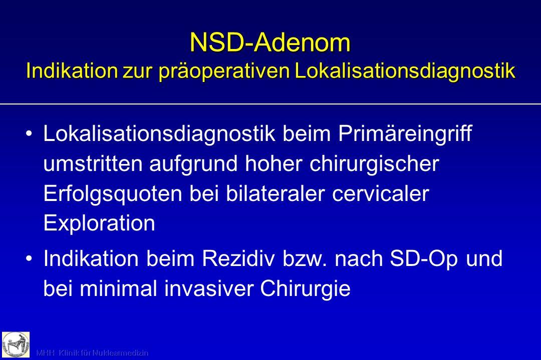 NSD-Adenom Indikation zur präoperativen Lokalisationsdiagnostik Lokalisationsdiagnostik beim Primäreingriff umstritten aufgrund hoher chirurgischer Er