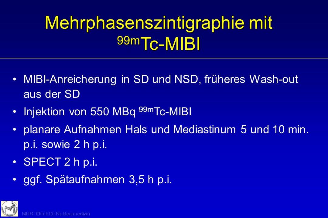 Mehrphasenszintigraphie mit 99m Tc-MIBI MIBI-Anreicherung in SD und NSD, früheres Wash-out aus der SD Injektion von 550 MBq 99m Tc-MIBI planare Aufnah
