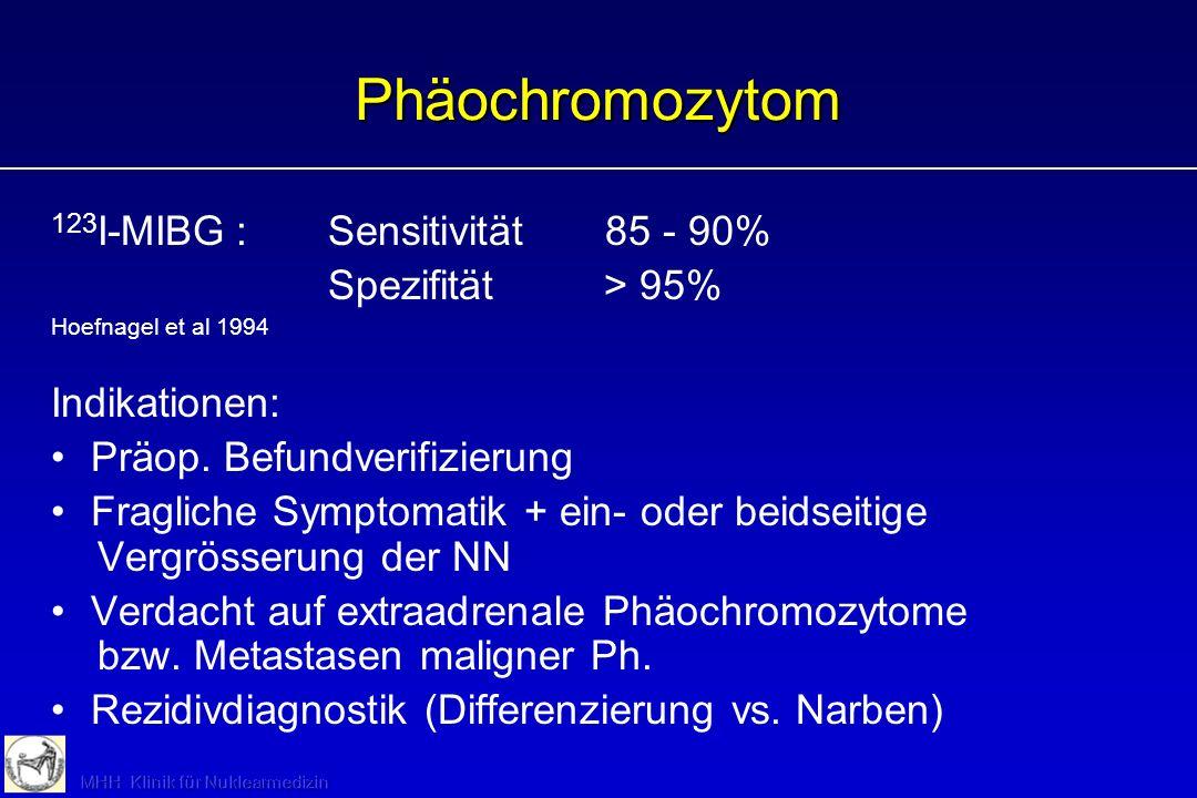 Phäochromozytom 123 I-MIBG:Sensitivität85 - 90% Spezifität > 95% Hoefnagel et al 1994 Indikationen: Präop. Befundverifizierung Fragliche Symptomatik +