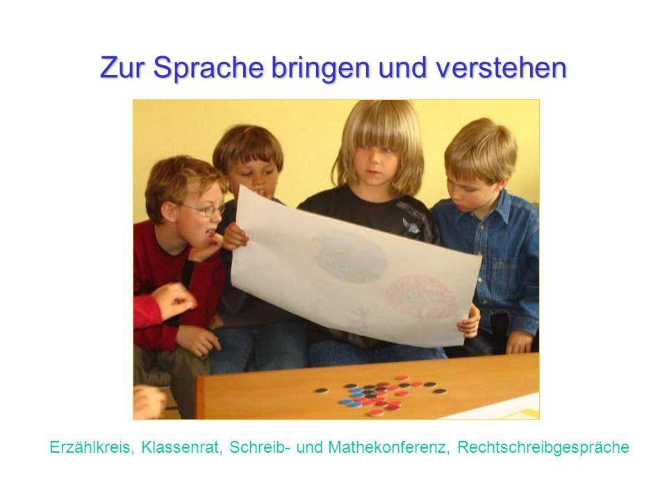 Zur Sprache bringen und verstehen Erzählkreis, Klassenrat, Schreib- und Mathekonferenz, Rechtschreibgespräche