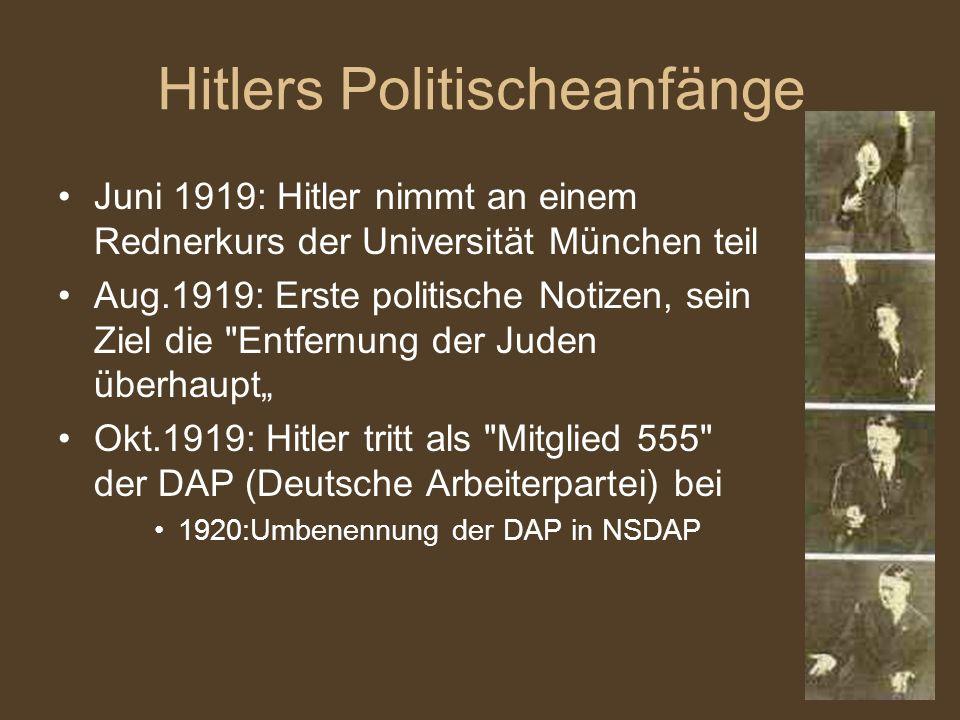 Hitlers Politischeanfänge Juni 1919: Hitler nimmt an einem Rednerkurs der Universität München teil Aug.1919: Erste politische Notizen, sein Ziel die