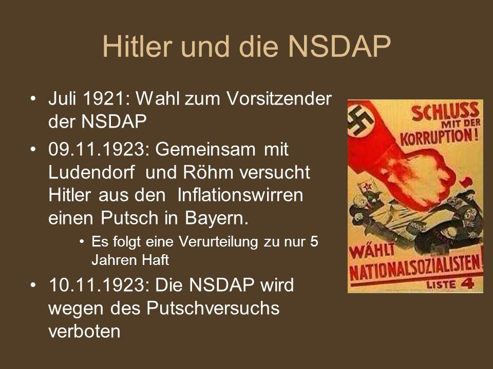 Hitler und die NSDAP Juli 1921: Wahl zum Vorsitzender der NSDAP 09.11.1923: Gemeinsam mit Ludendorf und Röhm versucht Hitler aus den Inflationswirren
